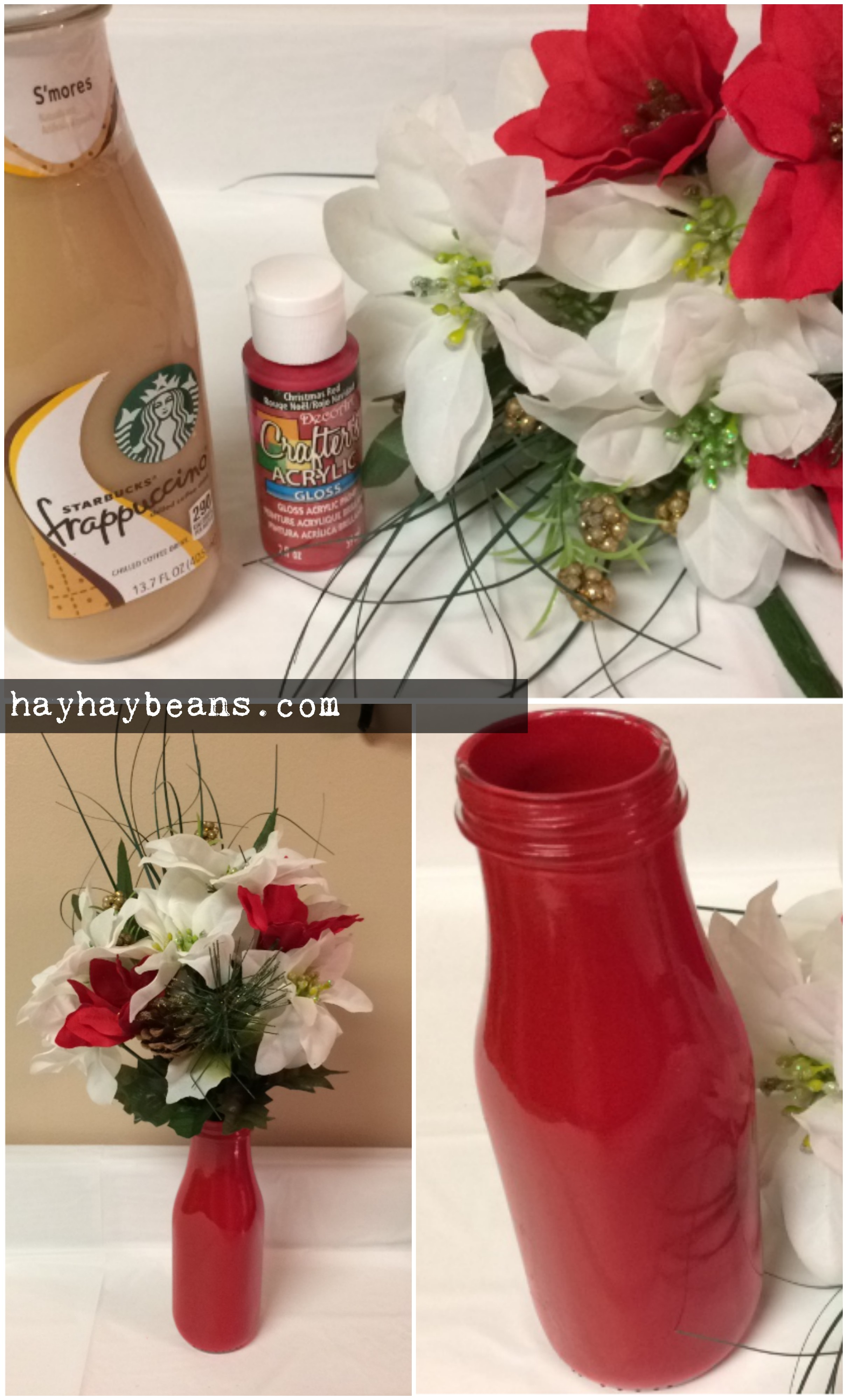Diy cheap flower vase decor using starbucks glass bottle starbucks vase diy christmas vase craft decor flowers dollar tree reviewsmspy